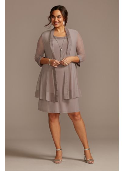 Plus Size Jersey Dress and Sheer Sleeve Jacket - This knee-length, plus size jersey dress-and-jacket set combines