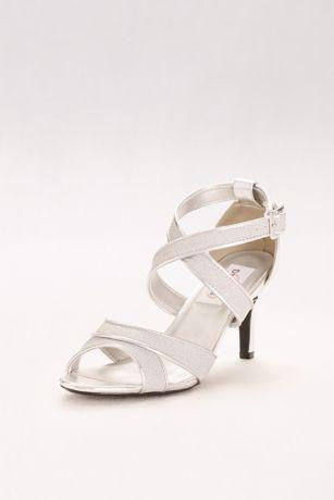 Dyeables Black;Blue;Grey;Yellow (Glitter Crisscross Strap Mid-Heels)