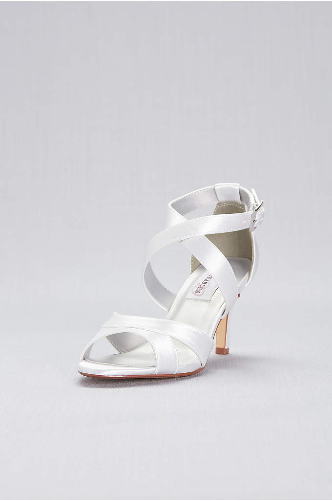 Dyeable Satin Crisscross Strap Mid-Heels - Sleek straps cross the vamp of these dyeable