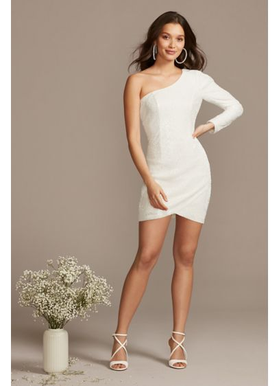 Short Sheath Casual Wedding Dress - Bardot