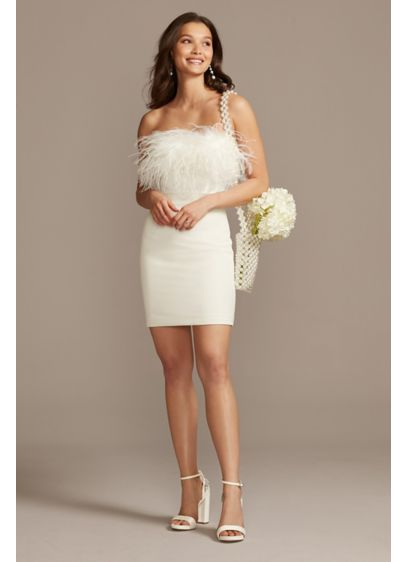 Bardot Strapless Crepe Feather Trim Mini Dress - Reminiscent of 1990's couture fashion, this little white