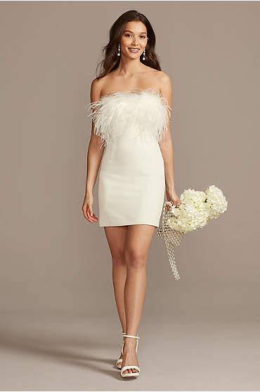 Strapless Crepe Feather Trim Mini Dress