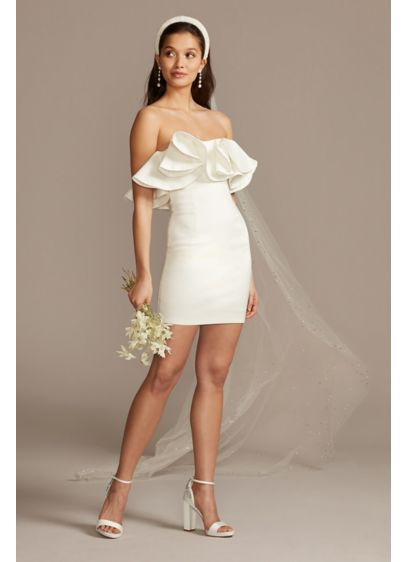 Bardot Strapless Taffeta Mini Dress with Ruffles - Sweet yet sexy, this strapless little white dress