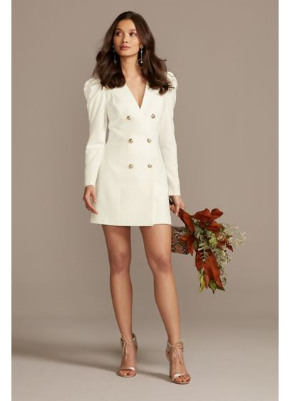 Bardot Button Front Long Sleeve Blazer Dress - Channel your inner super model in this stunning