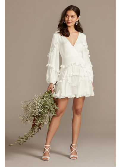 Bardot Charmeuse Ruffle Mini Dress with Back Tie - Perfect for any wedding event or a warm-weather