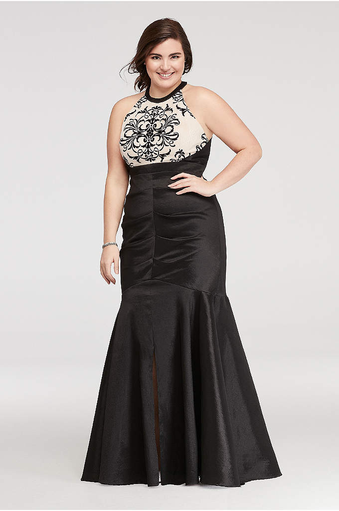 Halter Ruched Prom Dress with Embroidered Detail
