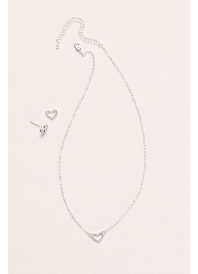 David's Bridal Grey (Flower Girl Crystal Heart Necklace and Earring Set)