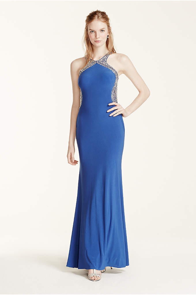 Beaded High Neck Fitted Open Back Prom Dress