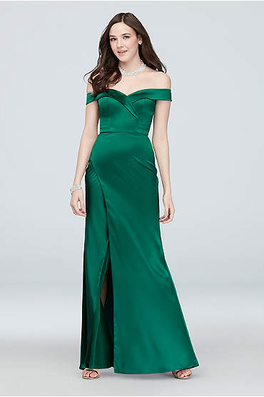 Pleated Off the Shoulder Satin Mermaid Gown