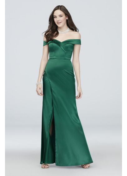 Pleated Off the Shoulder Satin Mermaid Gown - Channel Old Hollywood luxury in this off-the-shoulder satin