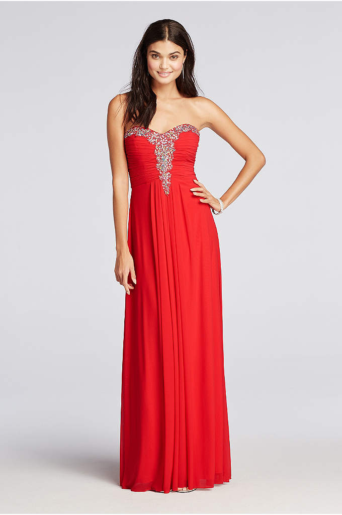 Crystal Beaded Neckline Long Mesh Prom Dress