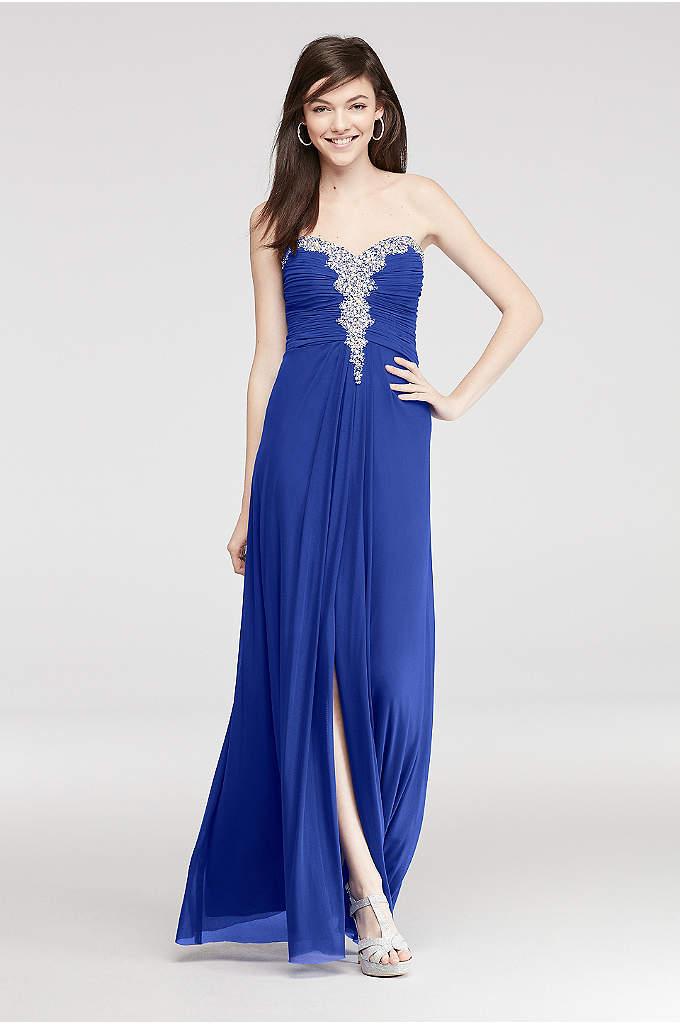 Crystal Beaded Neckline Long Mesh Prom Dress