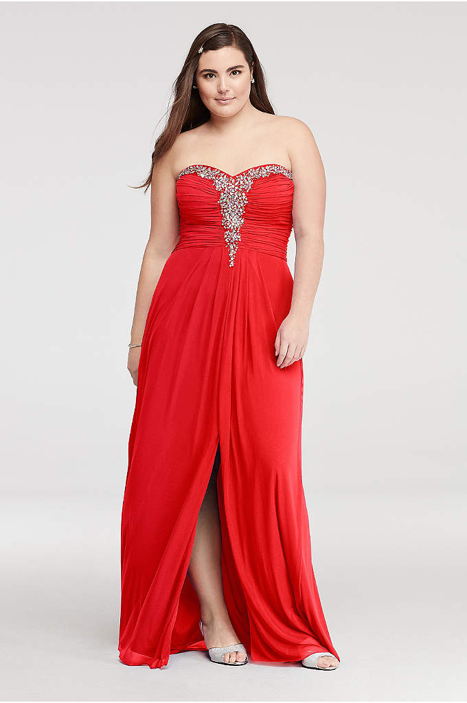 Crystal Beaded Neckline Mesh Prom Dress
