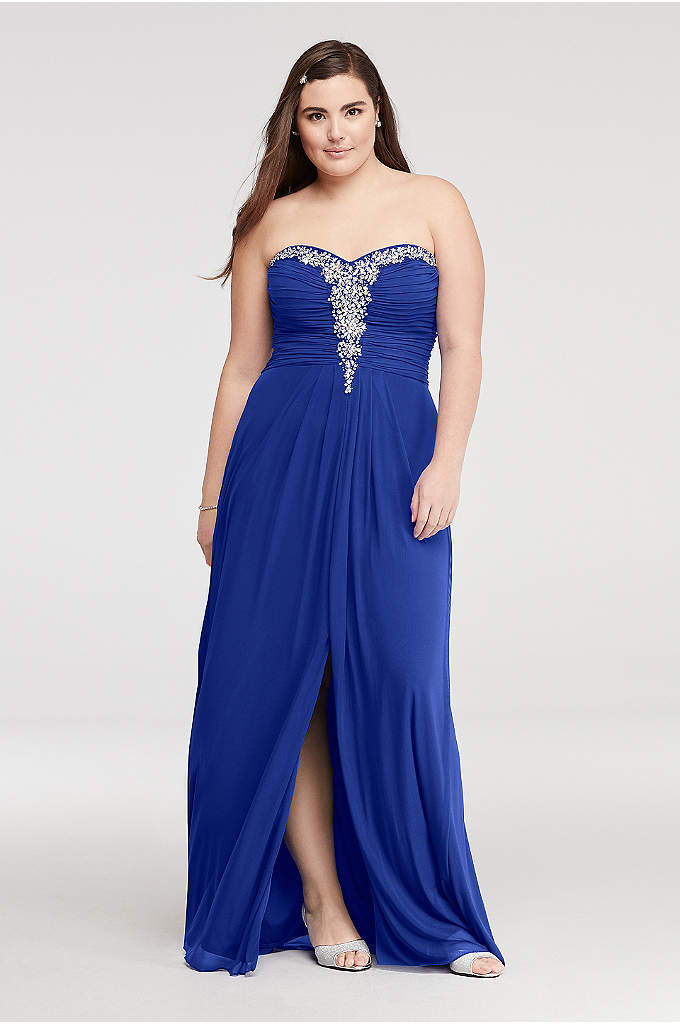 Crystal Beaded Neckline Mesh Prom Dress