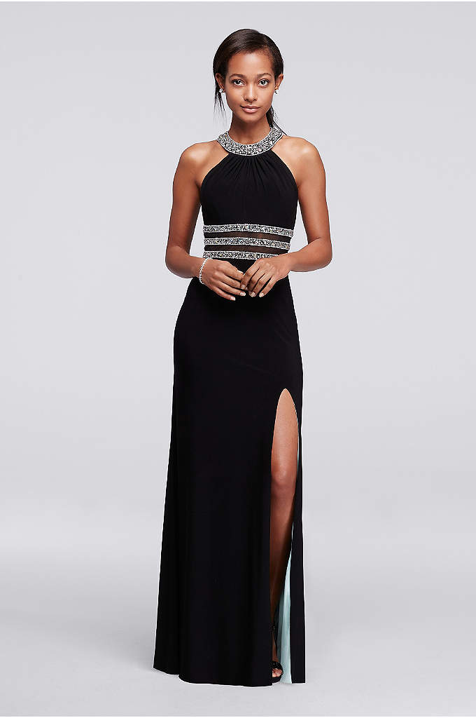 Beaded High Neck Prom Dress with Illusion Cutouts