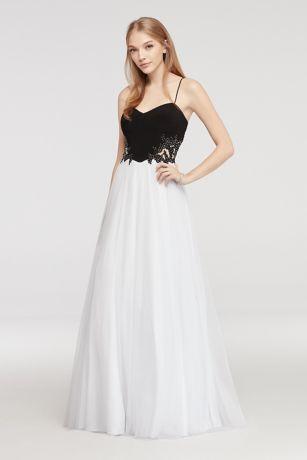 Spaghetti Strap Prom Dress with Illusion Sides | David\'s Bridal