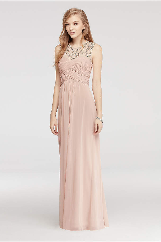 Pleated Mesh Prom Dress with Beaded Illusion Neck