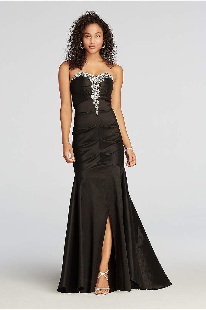 Strapless Ruched Taffeta Beaded Prom Dress
