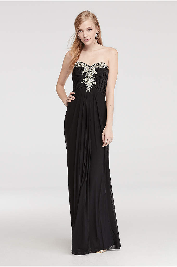 Strapless Prom Dress with Embroidered Neckline
