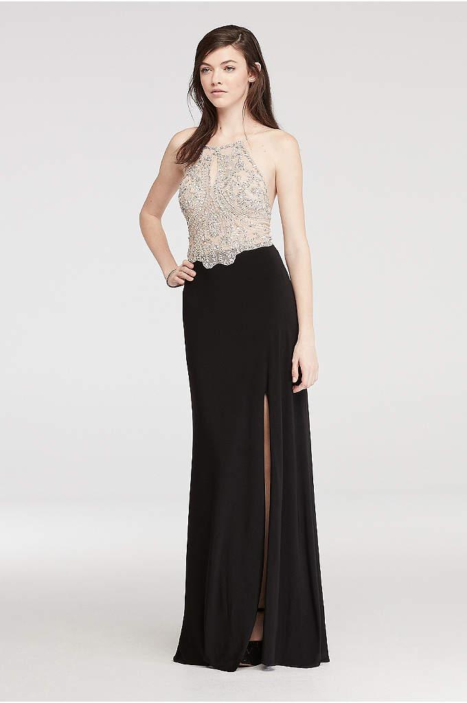 Halter Prom Dress with Beaded Illusion Bodice