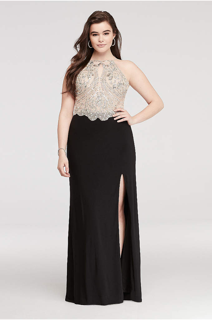 Halter Prom Dress with Beaded Bodice and Side Slit