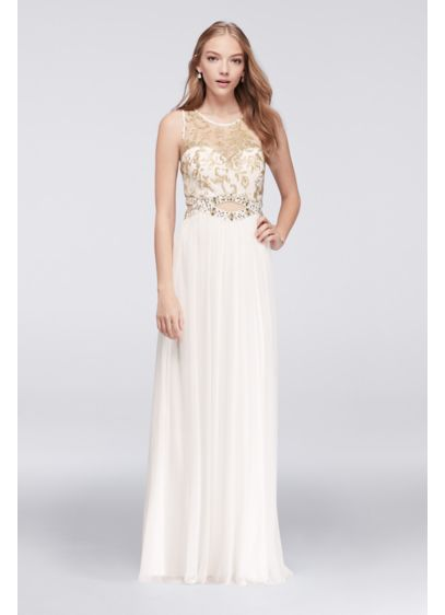 Illusion Tank Prom Dress with Gold Beaded Cutout | David\'s Bridal