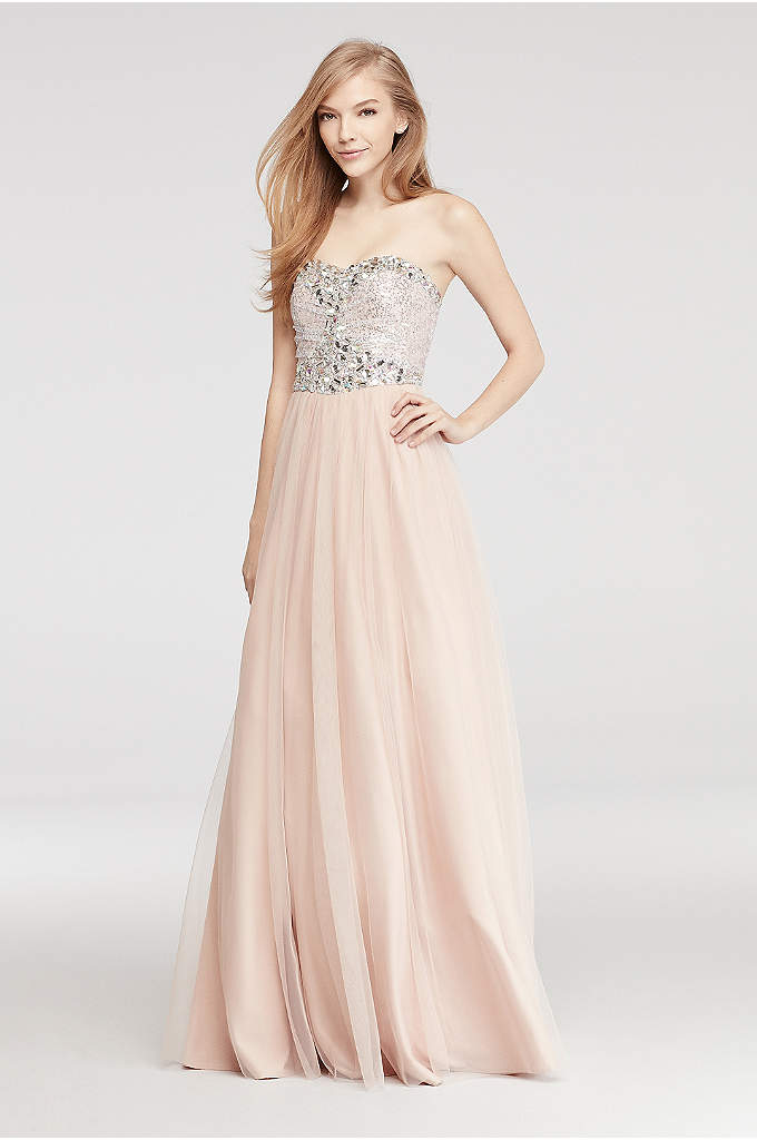 Strapless Prom Dress with Sequin Beaded Bodice