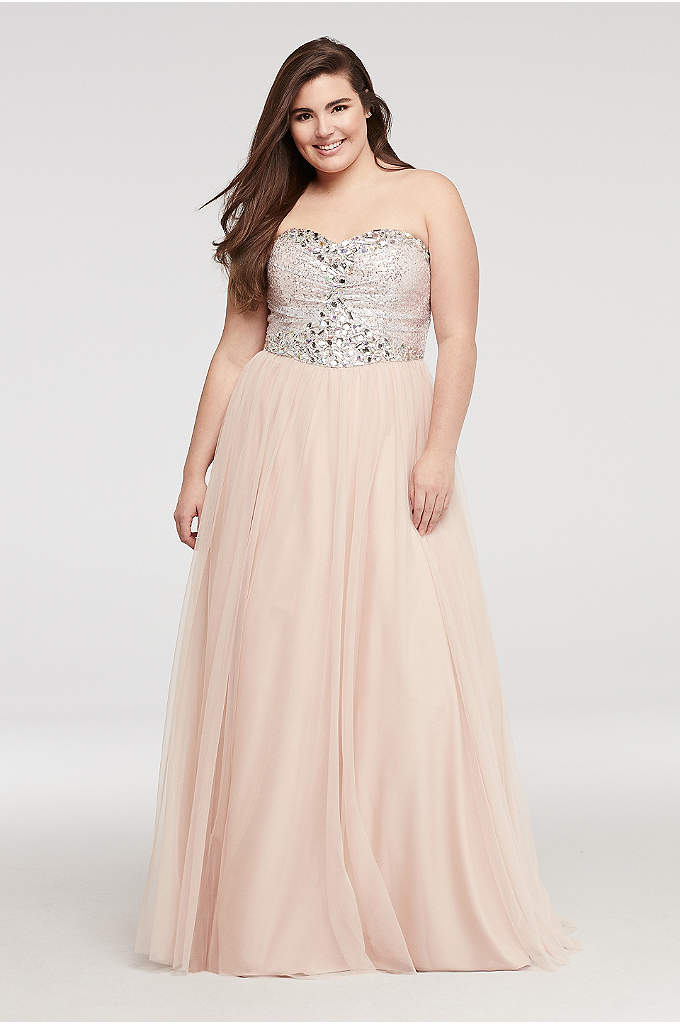 Strapless Mesh Prom Dress with Sequin Beading