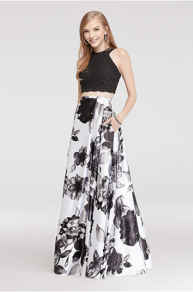 Halter Lace Two Piece Prom Dress
