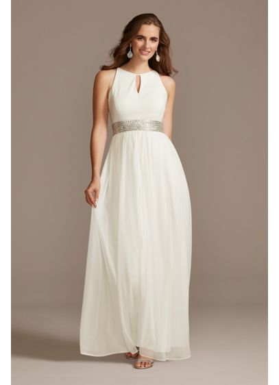 Jersey Keyhole Bodice Gown with Crystal Waist - The keyhole jersey bodice and flowy mesh skirt