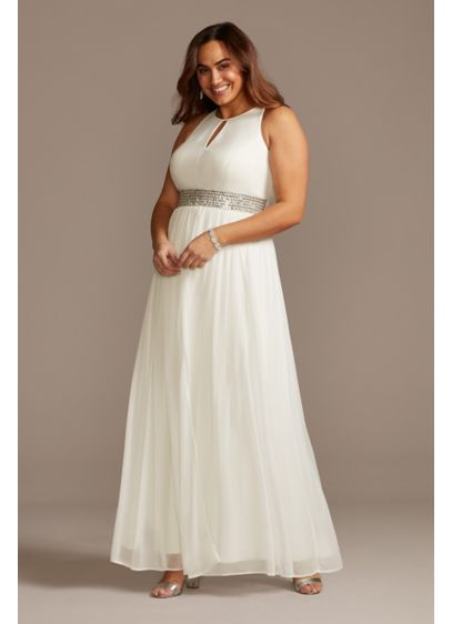 Jersey Keyhole Plus Size Gown with Crystal Waist - The keyhole jersey bodice and flowy mesh skirt