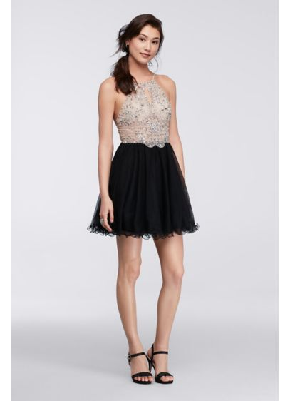 Short Ballgown Halter Cocktail and Party Dress - Blondie Nites
