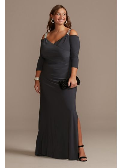 Beaded Strap Cold Shoulder Jersey Plus Size Gown - Dazzling rhinestone straps heat up this cold shoulder