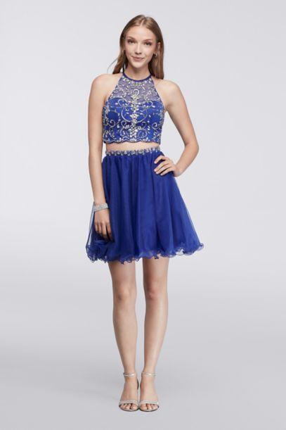 Homecoming Halter Crop Top And Matching Skirt David S Bridal