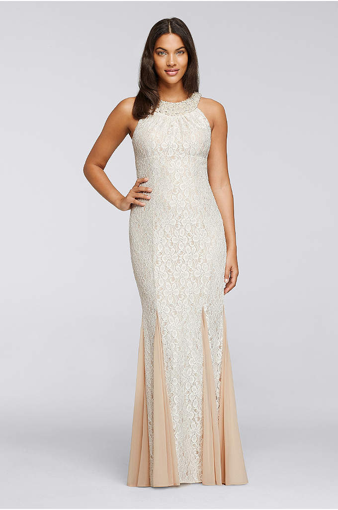 Lace Dress with Pearl Neck and Godet Mesh - A pearlescent high neckline crowns this long, allover