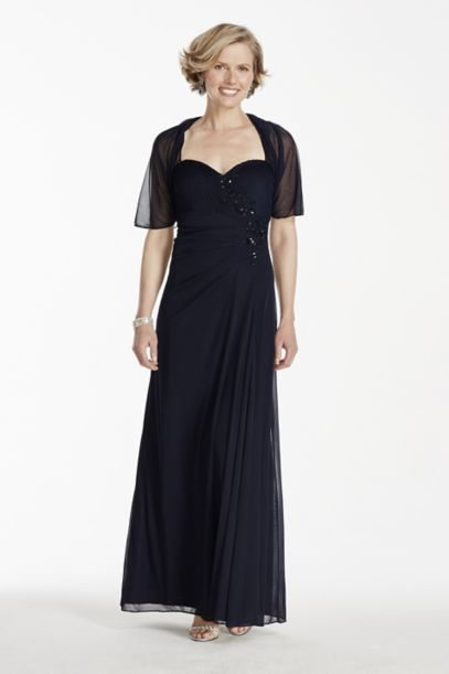 Long Sleeveless Chiffon Dress with Chiffon Shrug | David's ...