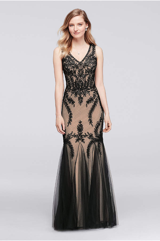 Sleeveless Soutache Dress with Skirt Godets