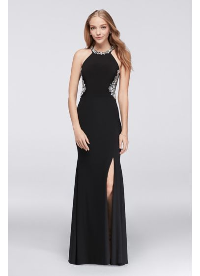 Long Sheath Halter Cocktail and Party Dress - Blondie Nites