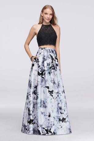 Scalloped Lace Top And Printed Charmeuse Skirt Set Davids Bridal