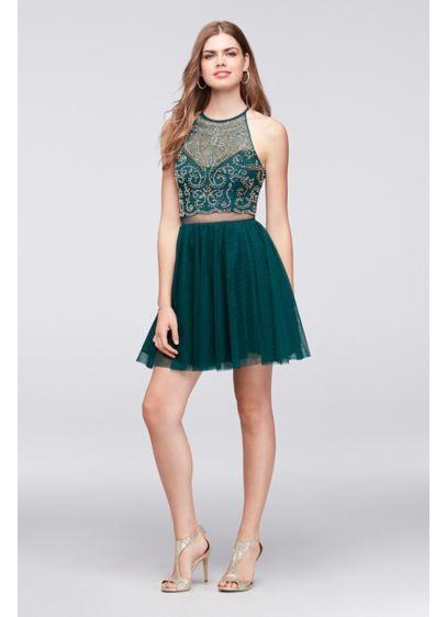 Short Ballgown Halter Cocktail and Party Dress - Blondie Nites
