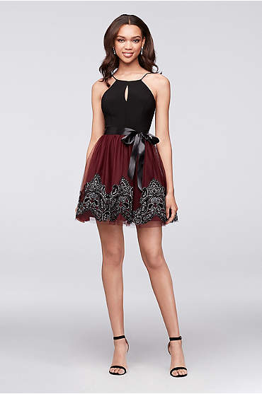 Jersey and Glitter-Print Tulle Dress
