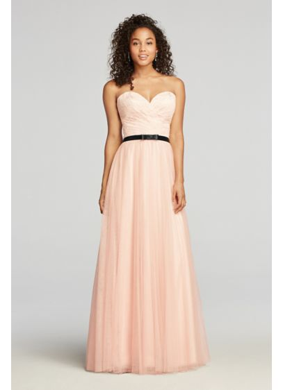 Strapless Tulle Prom Dress with Sash | David\'s Bridal