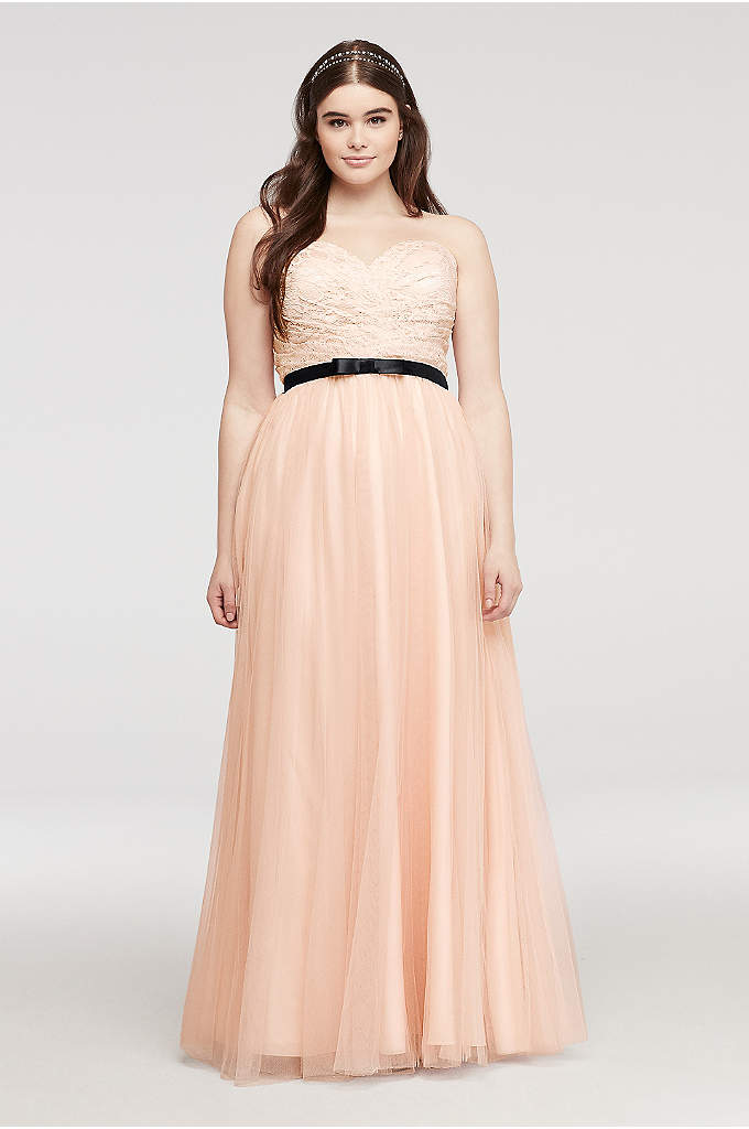 Strapless Tulle Prom Dress with Sash Detail