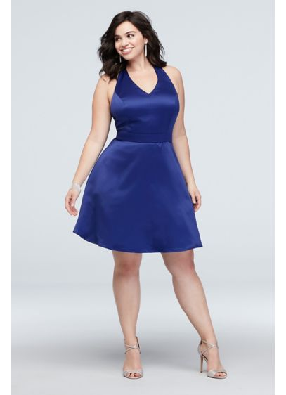 Satin Plus Size Skater Dress with Bow Racerback