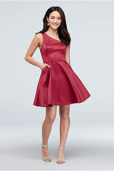 One Shoulder Skinny Strap Short Dress with Pockets