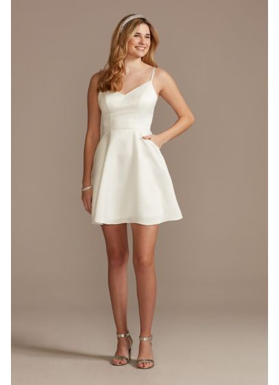 Lace Back Satin V-Neck Mini Dress with Pockets - A lace detail adds a bit of romance