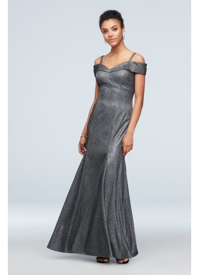 Off-the-Shoulder Metallic Mermaid Gown with Godets - Turn heads in this metallic stretch-knit mermaid gown