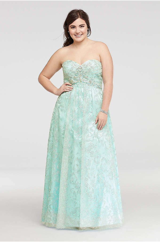 Strapless Beaded Glitter Tulle Prom Dress