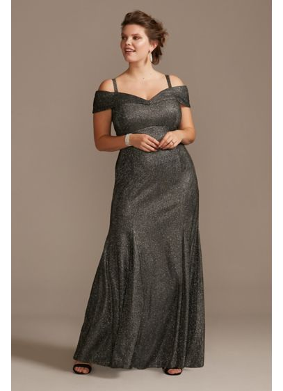 Off Shoulder Metallic Plus Size Gown with Godets - Turn heads in this metallic stretch-knit mermaid plus