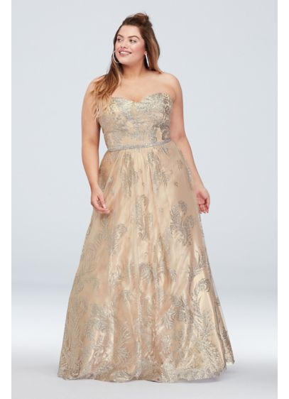 Glitter Brocade with Crystal Belt Plus Size Gown - A snazzy update to a classic silhouette, this